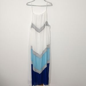 ZEAGOO Blue and White Maxi Dress Size Large